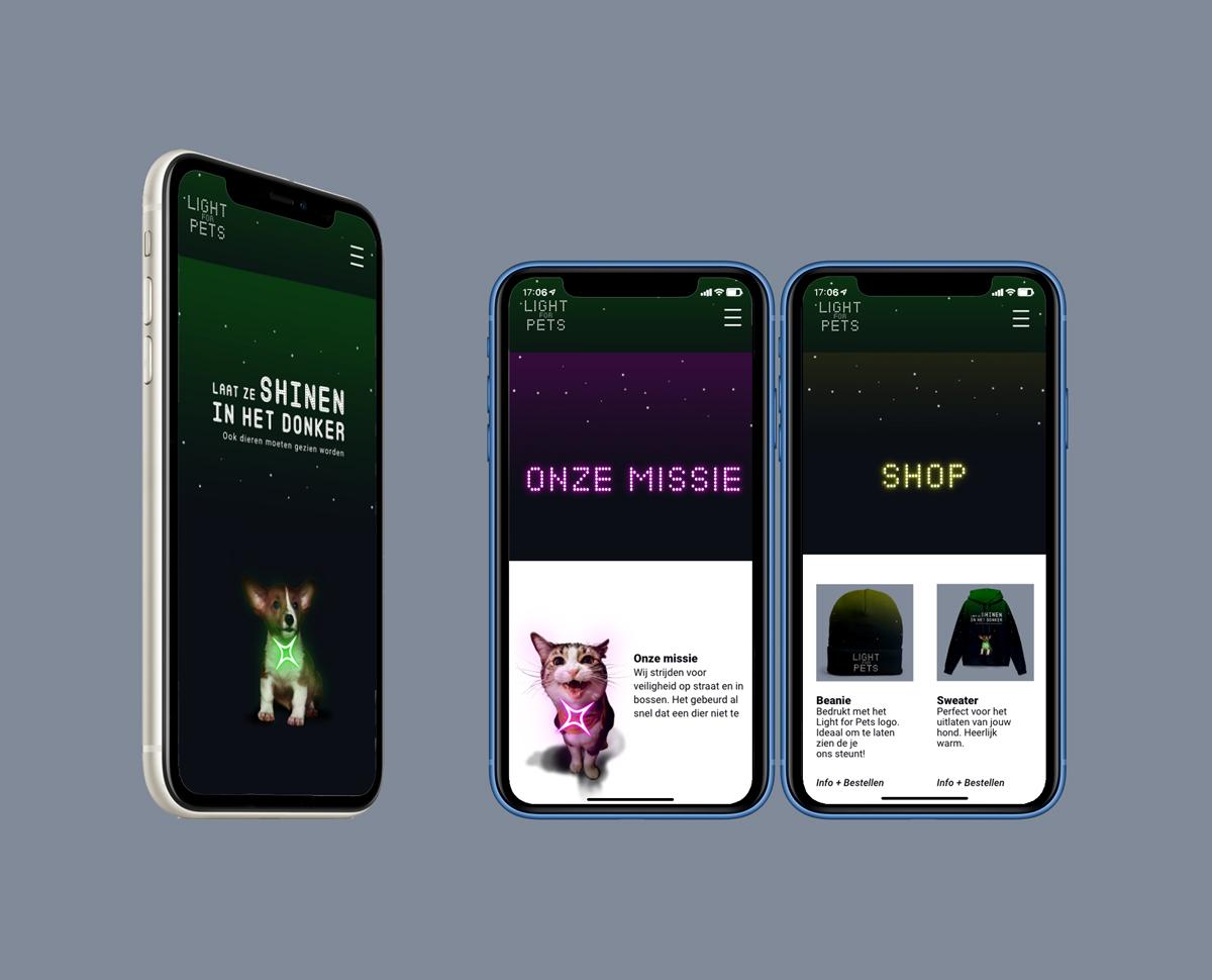 Mock up website Light for Pets